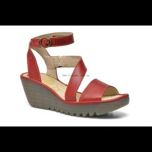 Fly London Red Yesk Wedges